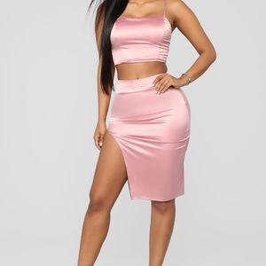 Fashion nova - Easy lovers satin skirt set